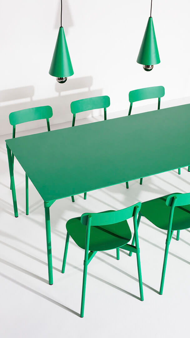 Chaises Fromme vert menthe et Cherry Led - Petite Friture