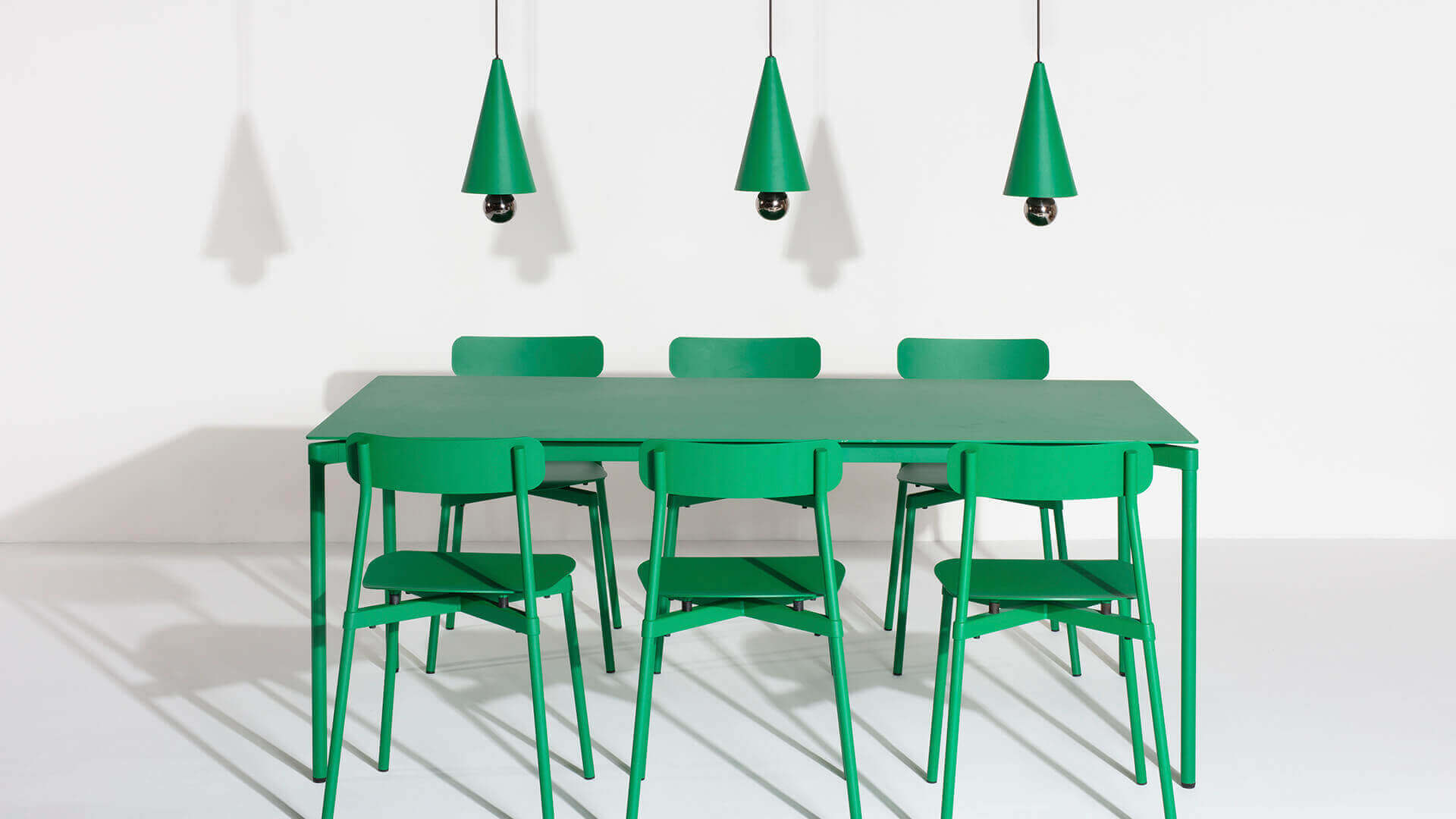 Fromme chairs in mint green and small Cherry LED lights -Petite Friture