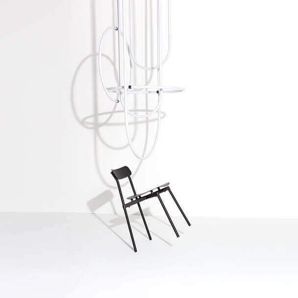 Unseen Studio Pepe chandelier and Fromme chair -Tom Chung